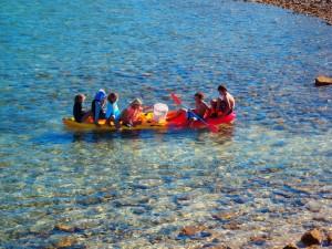 The kids having fun on Wayne's kayak